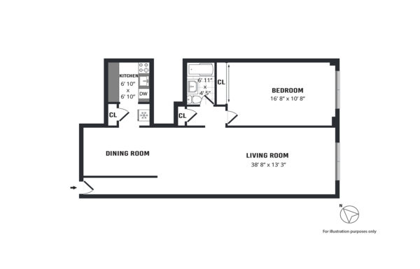 A sample custom floorplan for a oddly configured apartment in NYC.