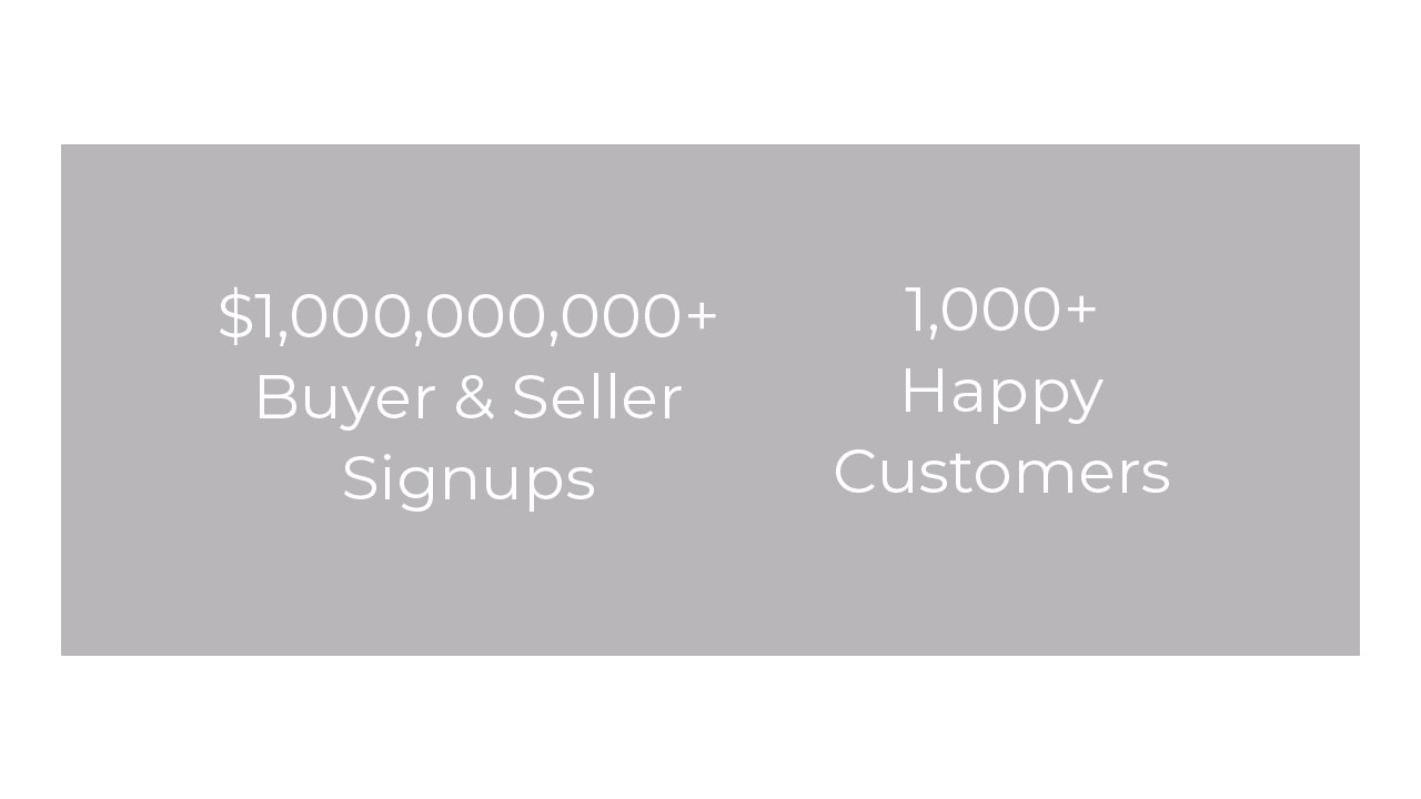 Hauseit vanity metrics detailing the number and notional value of customer signups since inception.