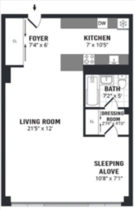 Classic example of an alcove studio apartment floorplan in NYC.