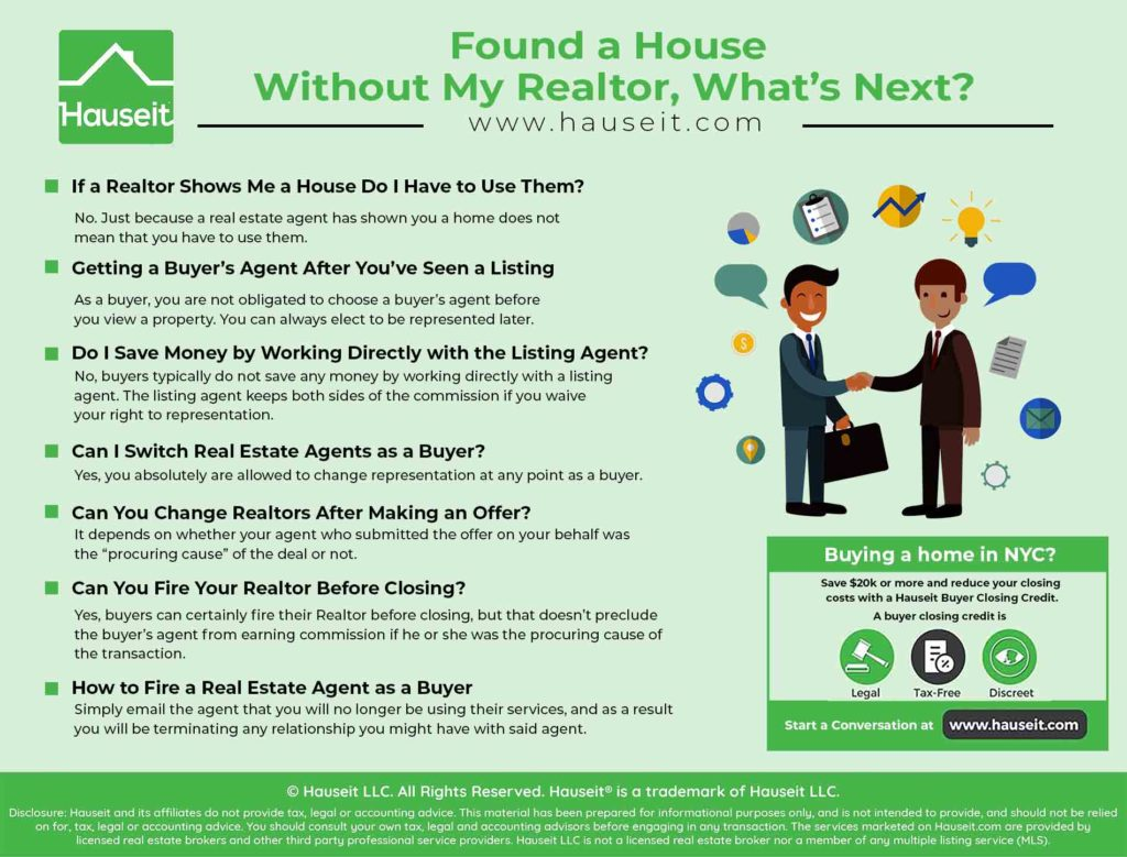 An infographic explaining what happens after you see a property without a Realtor, and whether you can change Realtors after seeing a property.