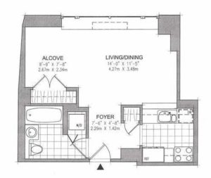 Sample floorplan of an alcove studio apartment in NYC.