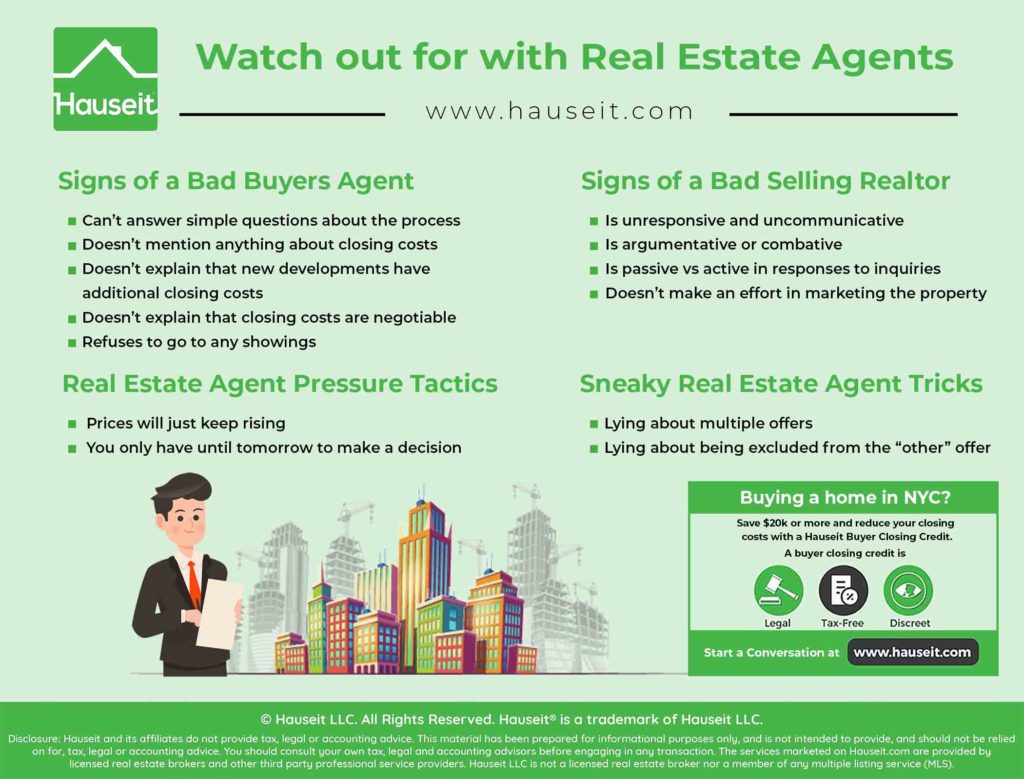 An infographic illustrating what to watch out for when it comes to real estate agents.