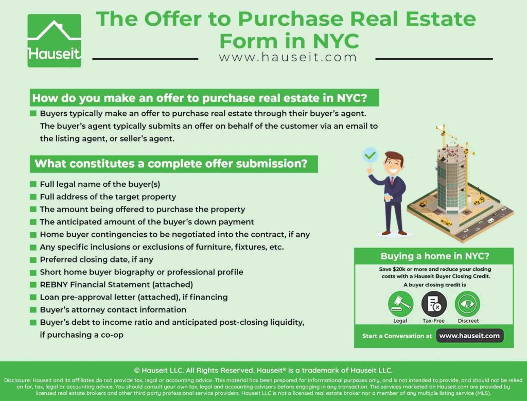 Infographic illustrating how an offer to purchase real estate in NYC is made, and what constitutes a complete offer submission.