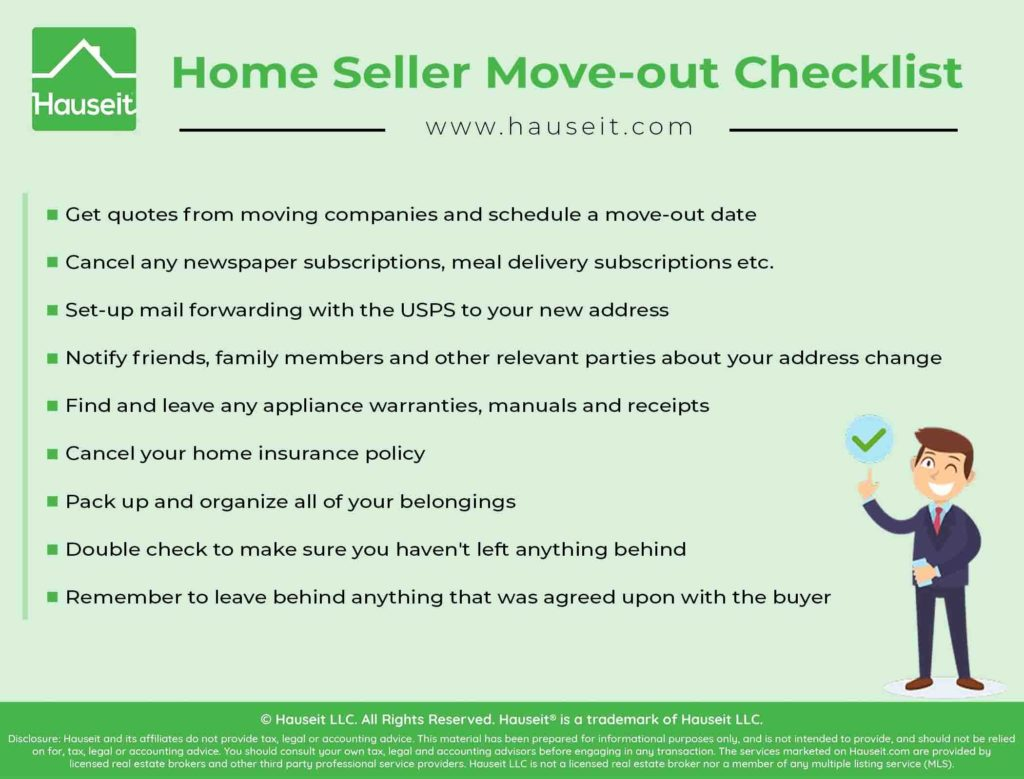 An infographic showing a checklist for home sellers before they move-out and prior to closing day.