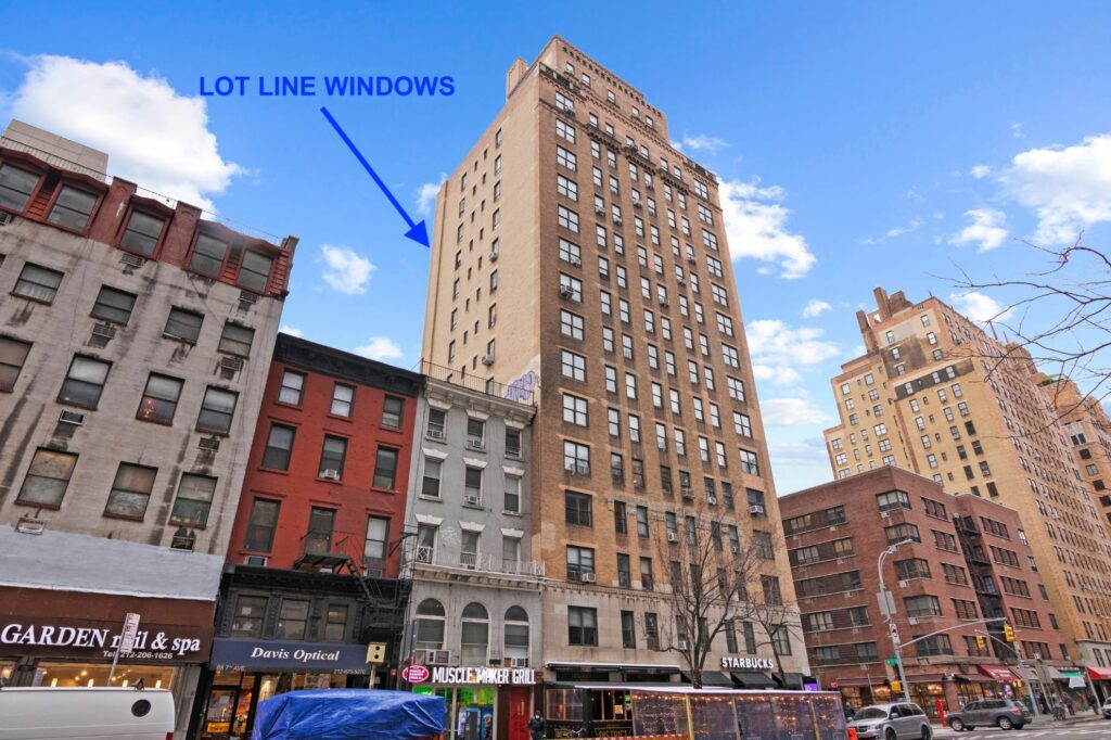 Example of some lot-line windows in the Chelsea neighborhood of Manhattan.