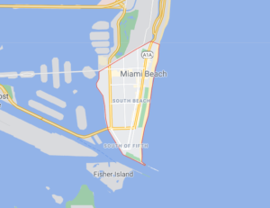 Map illustrating where South Beach is on a map of Miami Beach, Florida