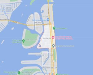 Map illustrating where the town of Surfside, Florida is relative to Miami Beach and Bal Harbour.