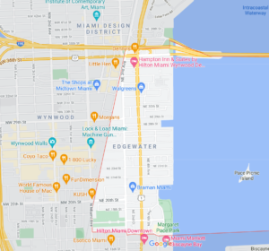 Map showing where the neighborhood of Edgewater is in Miami