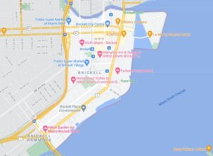 Map illustrating where Brickell is in Miami