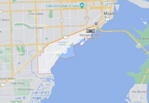 Map illustrating where Coconut Grove is in Miami.