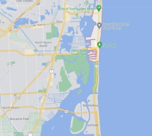 Map showing where Sunny Isles Beach is in Miami-Dade County, Florida.